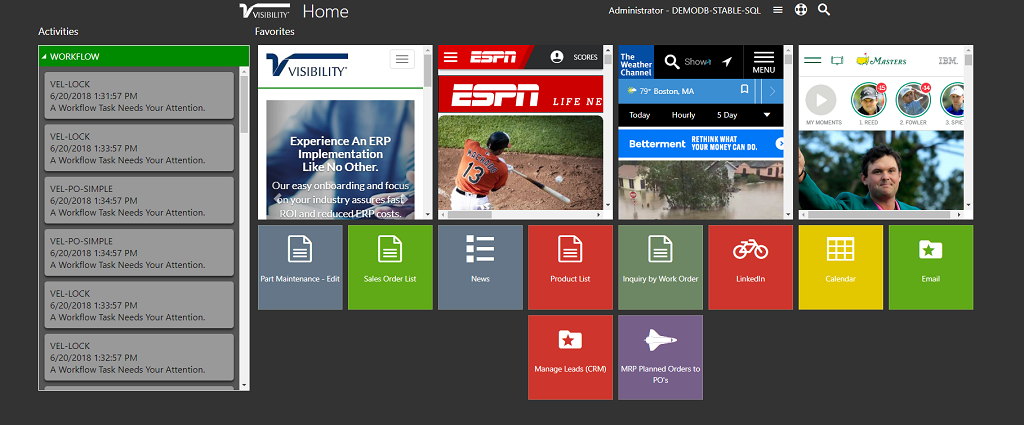 VIsibility 2018 Home Screen